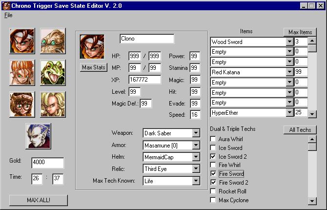 RPG Legion - Chrono Trigger - Save State Editor)