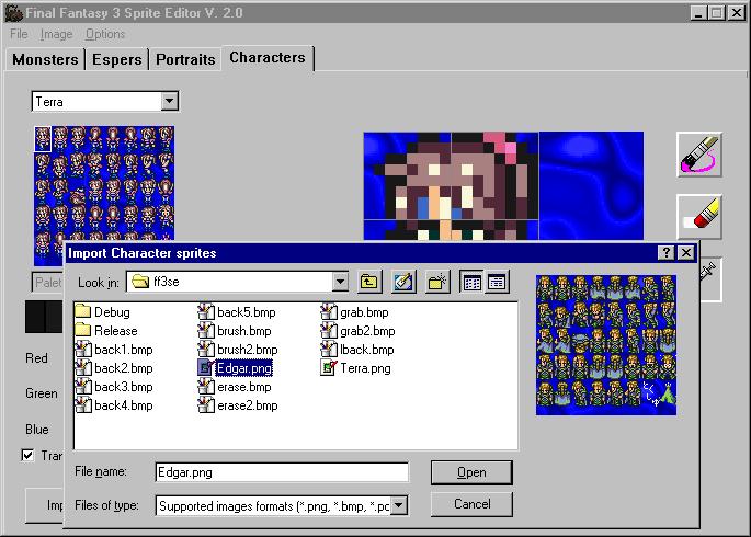 Final Fantasy VI Encyclopedia - Final Fantasy III Sprite Editor